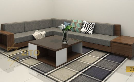 sofa gỗ tự nhiên góc