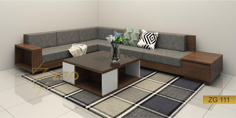 Bàn ghế Sofa gỗ góc phòng khách tại hà nội Thiết kế góc chữ L linh hoạt