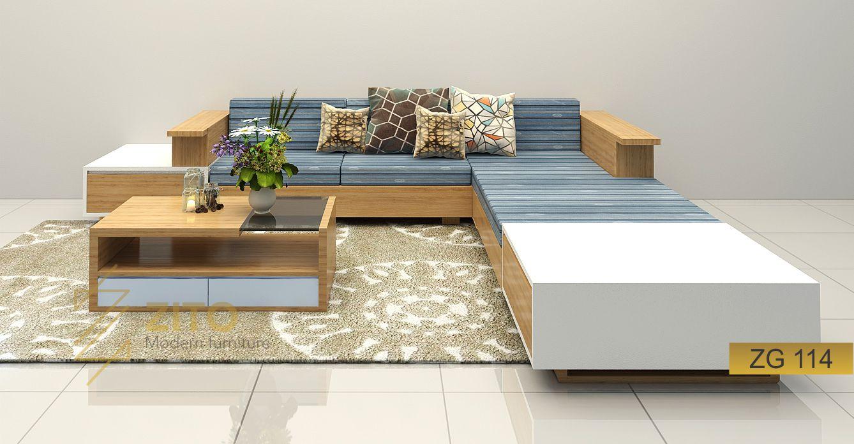 Sofa gỗ góc L ZG 114 hiện đại cho nội thất phòng khách