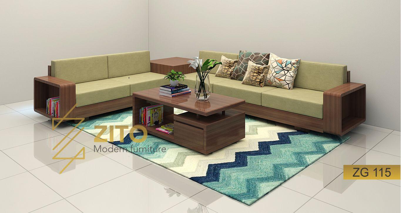 Bàn ghế Sofa gỗ góc L ZG 115 phòng khách hiện đại