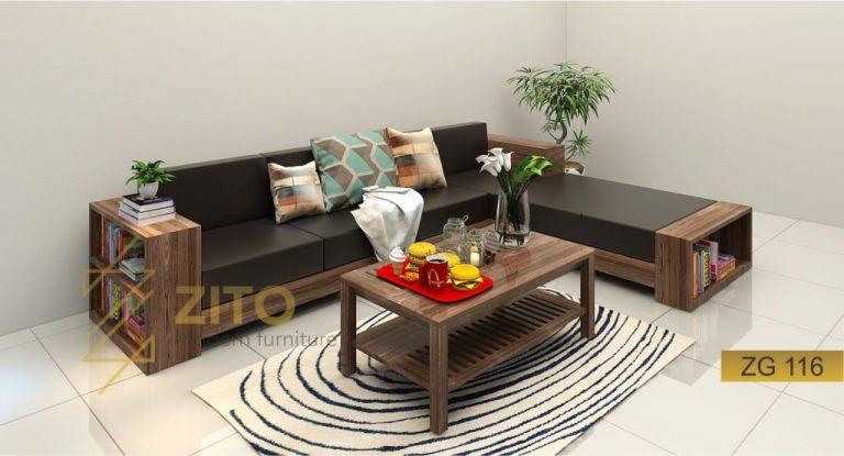 sofa gỗ bọc da