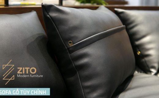 Sofa gỗ góc đệm da cao cấp dễ lau chùi