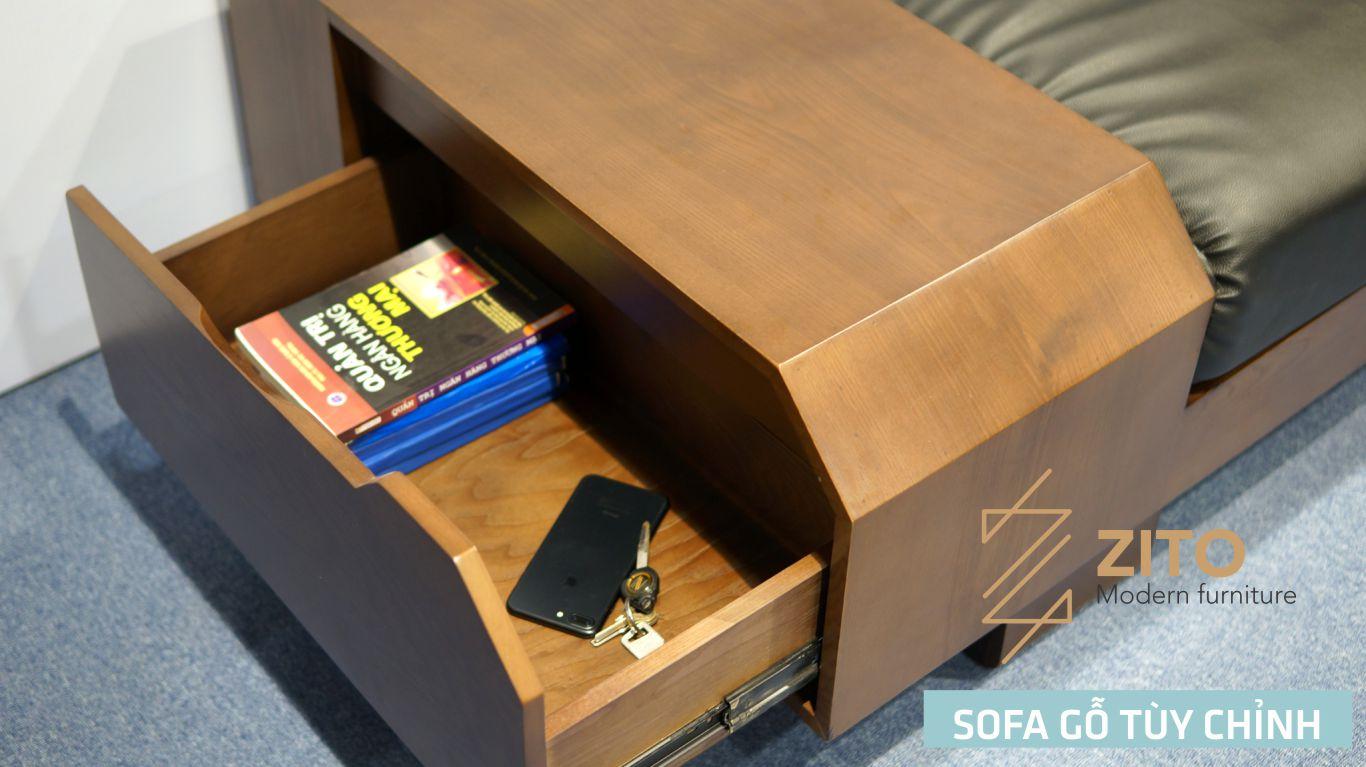 Thiết kế sofa gỗ góc có hộc tiện dụng để đồ vật