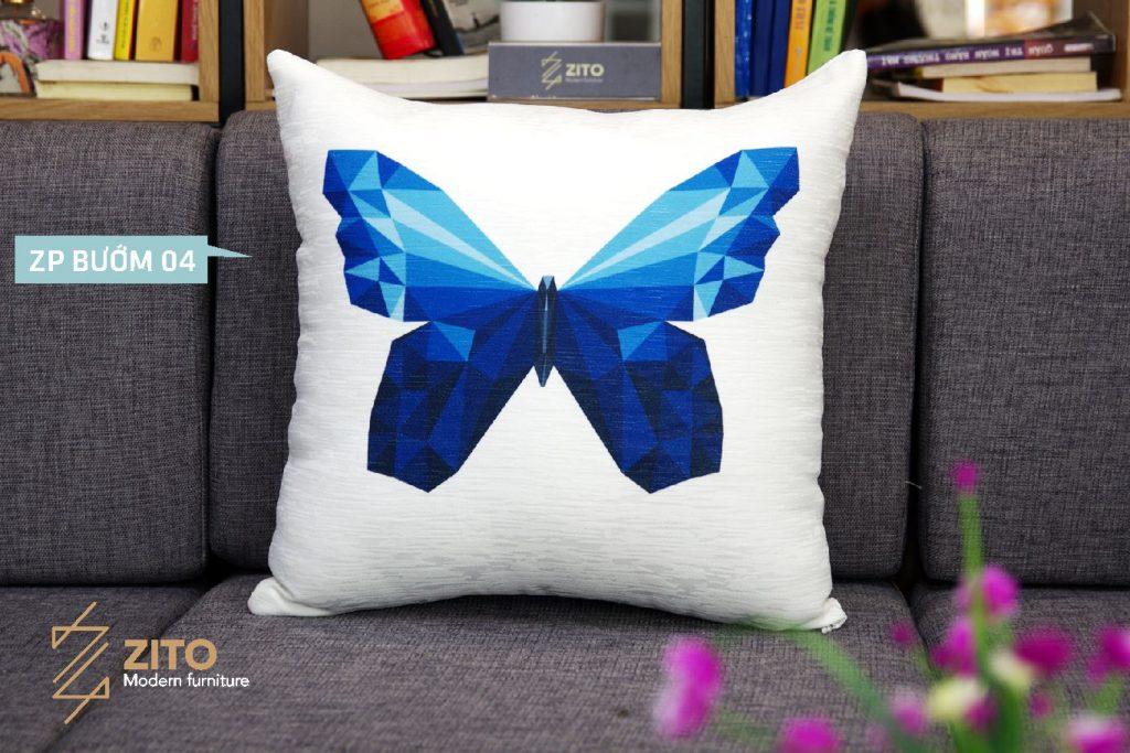gối vuông hình bướm