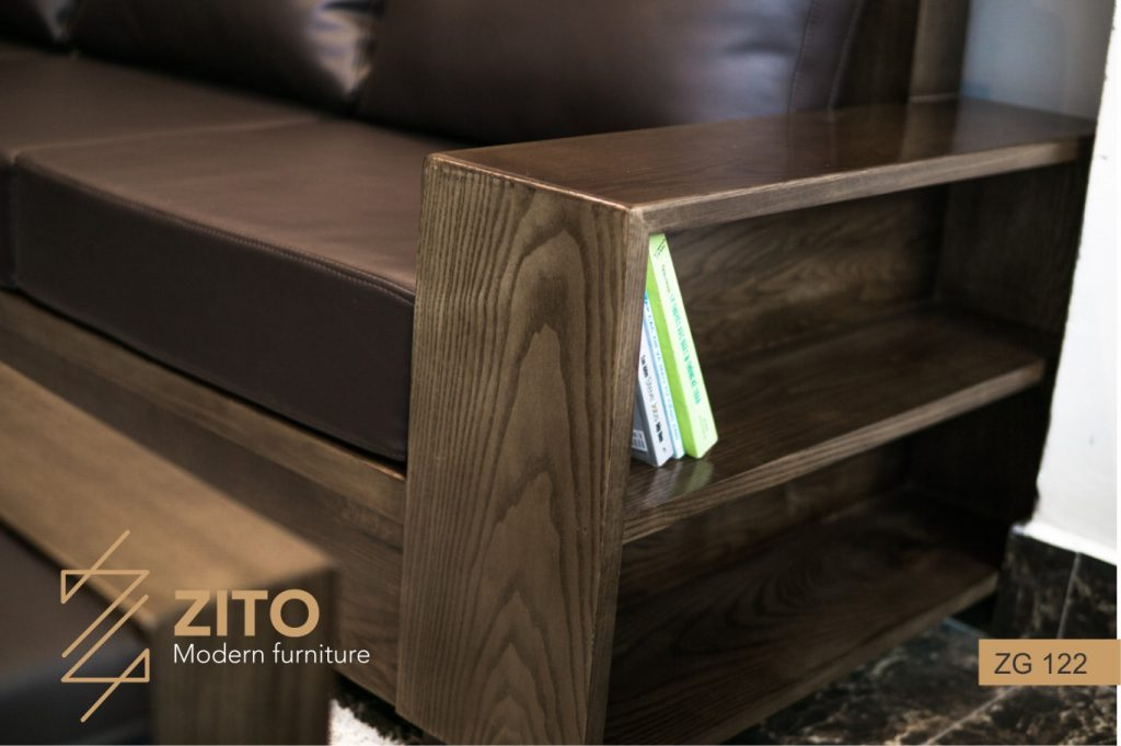 Bàn ghế Sofa văng gỗ ZG 122 sơn màu óc chó nội thất ZITO