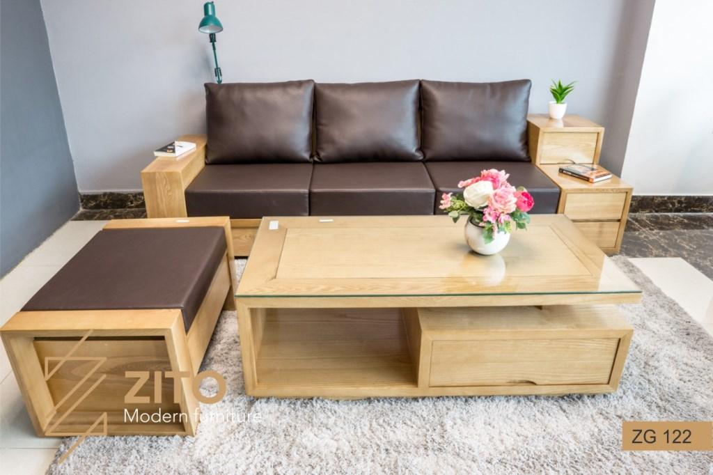 Sofa văng gỗ ZG 122 phòng khách tại hà nội