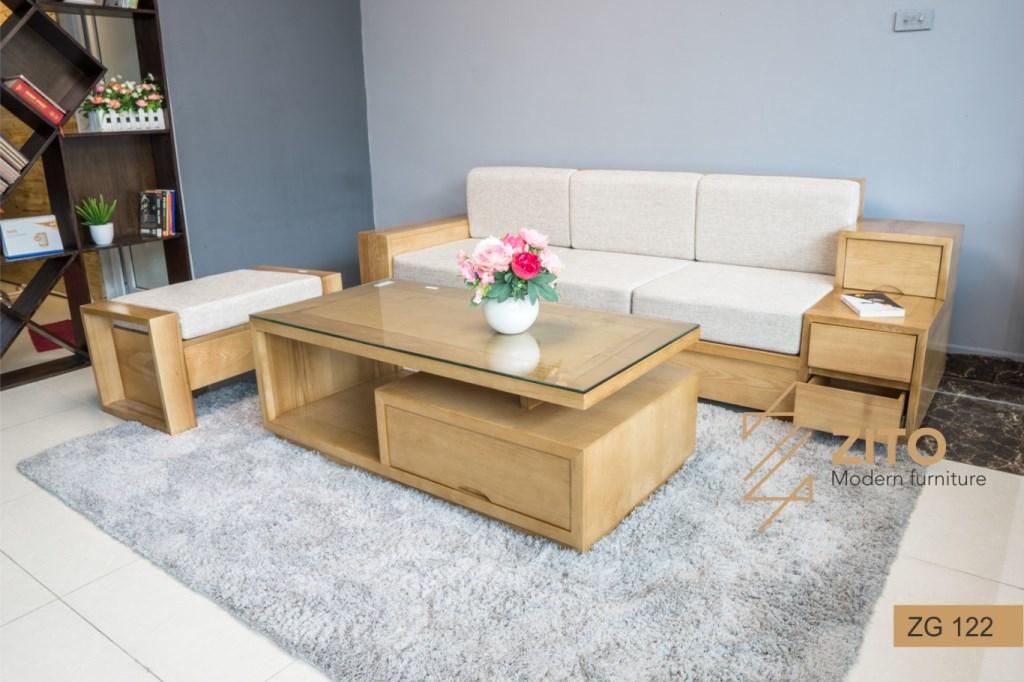 sofa gỗ góc L