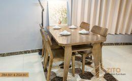 Bộ bàn ghế ăn cơm gỗ ZITO 601