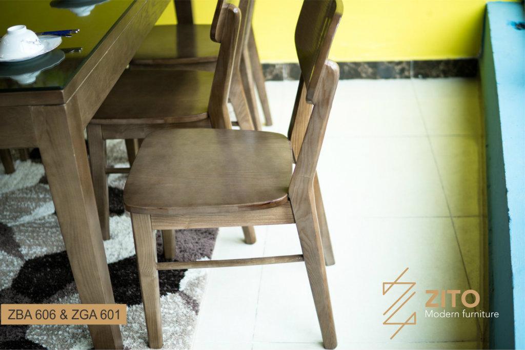 Ghế ăn ZGA 601 chắc chắn trong từng khung gỗ