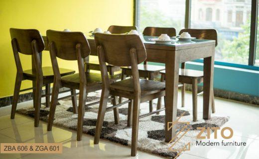 Kiểu dáng đẹp, kích thước nhỏ gọn của bộ bàn ăn hình chữ nhật gỗ Sồi hiện đại