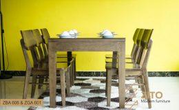 Bộ bàn ăn hình chữ nhật 6 ghế chắc chắn, bền bỉ