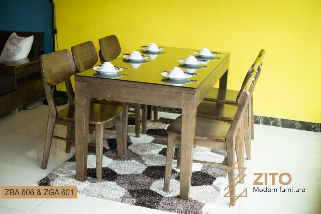 Bộ bàn ghế ăn hình chữ nhật ZBA 606 & ZGA 601 nội thất phong thủy tuổi Ất Sửu