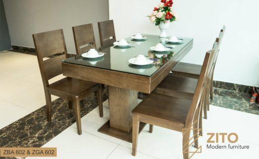 Bộ bàn ghế phòng ăn 6 ghế hiện đại bằng gỗ Sồi tự nhiên