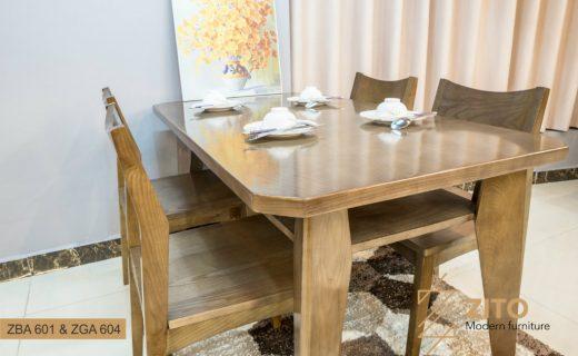 Khung sườn chắc chắn, bền đẹp của bộ bàn ăn 4 ghế gỗ sồi ZBA 601 & ZGA 604