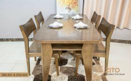 Bộ bàn ăn 4 ghế gỗ tự nhiên ZBA 601 & ZGA 604 tiện dụng và sang trọng