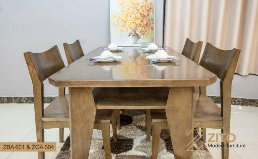 Bộ bàn ăn 4 ghế gỗ sồi ZBA 601 - ZGA 604
