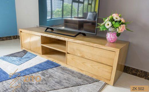 Mẫu kệ để tivi phòng khách bằng gỗ có những ngăn kéo nhỏ tiện dụng