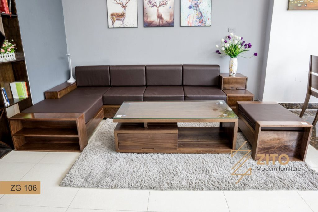 Sofa gỗ màu óc chó hiện đại ZG 106