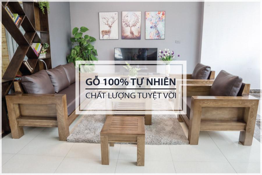 ZITO Bàn ghế sofa gỗ tự nhiên 100%