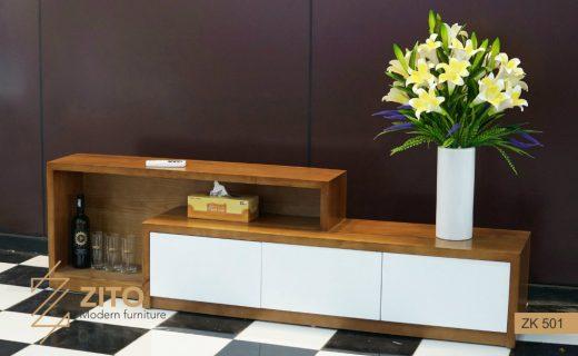 Kệ tivi gỗ phòng khách thiết kế có ngăn kéo và hộc tiện dụng