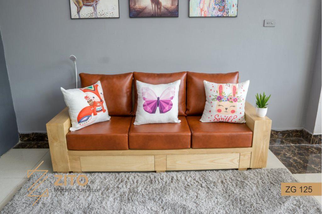 bộ bàn ghế Sofa văng gỗ đẹp cho phòng khách đệm được bọc da cao cấp