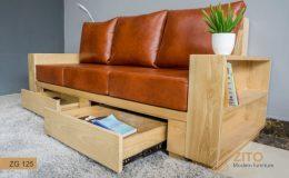 Thiết kế bộ bàn ghế Sofa văng gỗ đẹp cho phòng khách có hộc và ngăn kéo tiện dụng