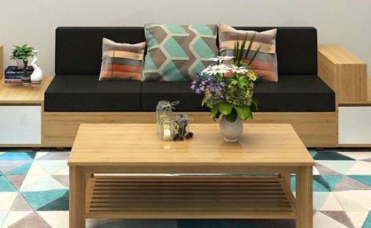 Sofa gỗ chữ U có hộc bàn tiện dụng