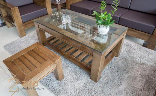 Bộ bàn ghế sofa gỗ chữ U đẹp, gọn và giản đơn