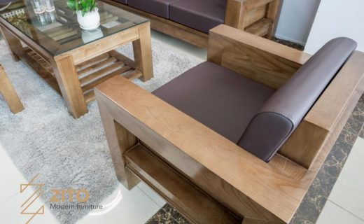 Văng và ghế sofa gỗ chữ U lót bằng đệm bọc da cao cấp