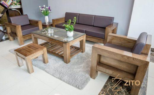 Kích thước của bộ sofa gỗ chữ U đẹp hợp với không gian của nhiều phòng khách