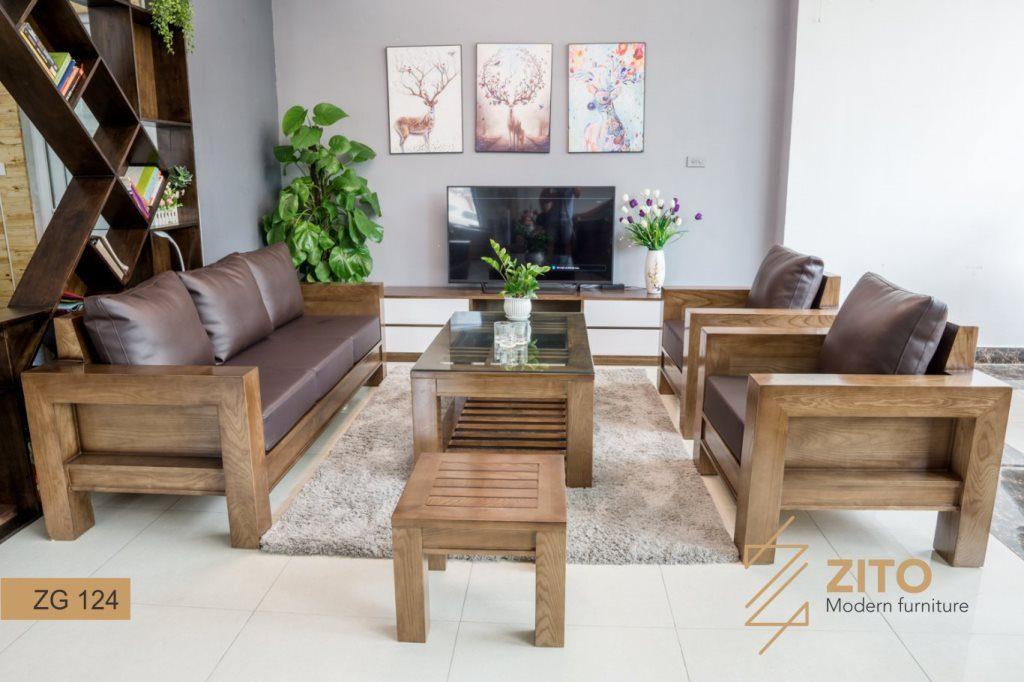 Bộ sofa gỗ chữ U ZG 124 hiện đại, tiện nghi