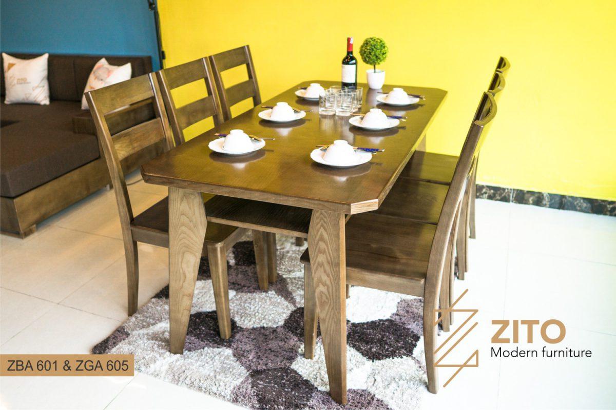 Bộ bàn ghế ăn hiện đại 6 chỗ ngồi ZBA 601 & ZGA 605