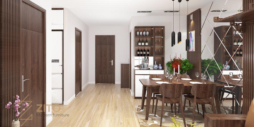 Thi công thiết kế nội thất phòng ăn chung cư HD Mon giản đơn, hiện đại