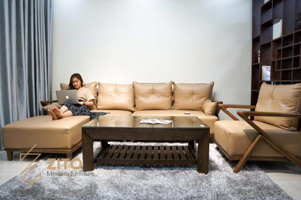 sofa gỗ màu óc chó