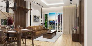 Nội thất phòng khách và phòng ăn bằng gỗ sồi đẹp