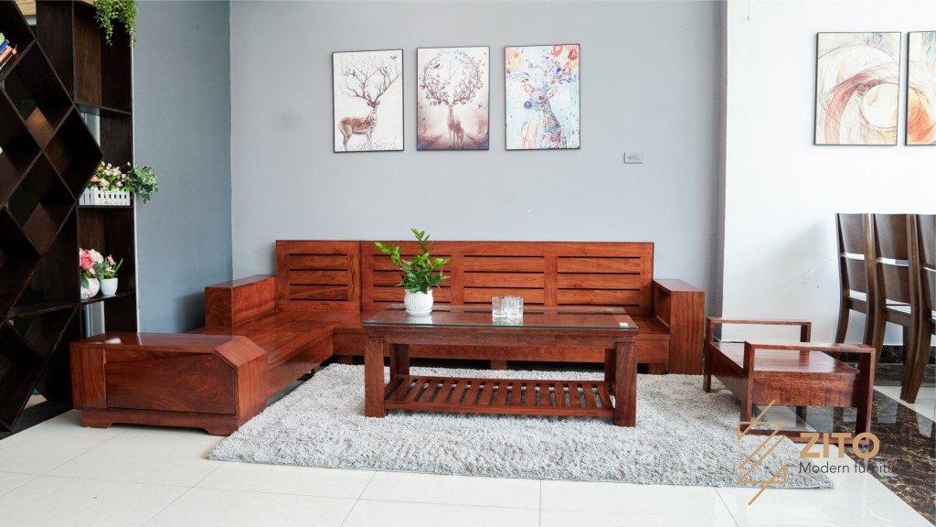Bộ bàn ghế sofa gỗ hương đá dành cho phòng khách