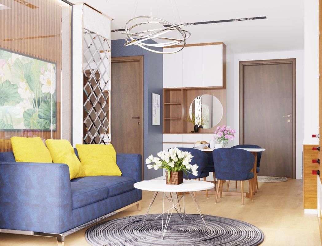 Kệ tivi gỗ phòng khách căn hộ HD Moon City hiện đại, trẻ trung