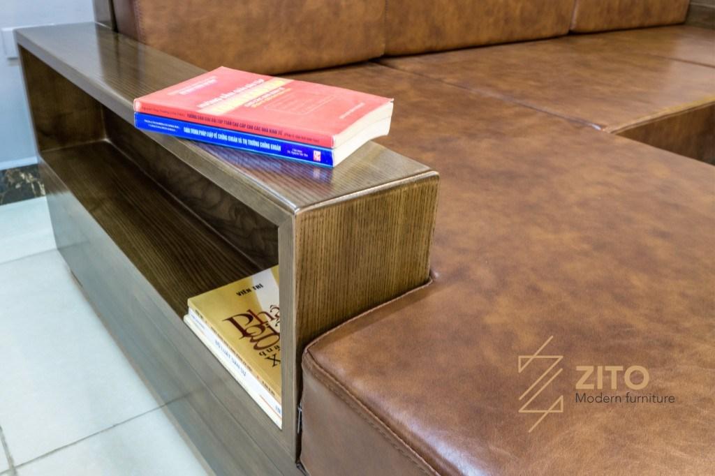 Thiết kế sofa gỗ nhỏ góc chữ L