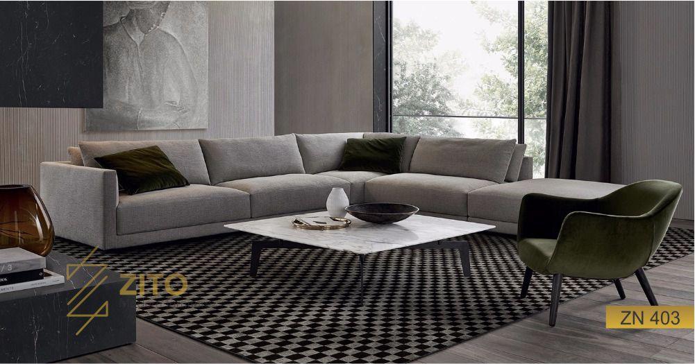 Sofa nỉ ZN 403 hiện đại cho phòng khách thêm sang trọng