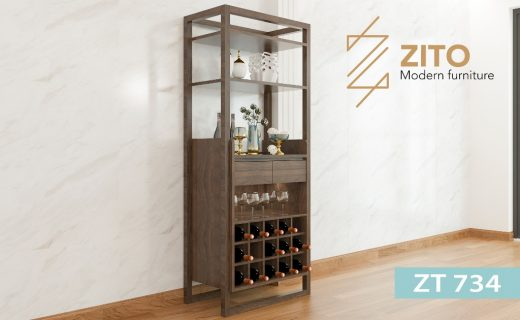 Thiết kế tủ rượu gỗ ZT 734 có nhiều ô và ngăn