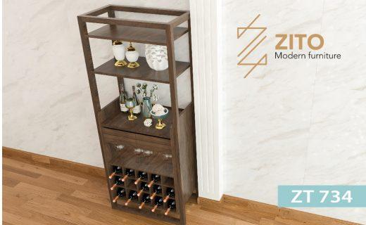 Chất liệu tủ rượu gỗ ZT 734 bằng gỗ tự nhiên