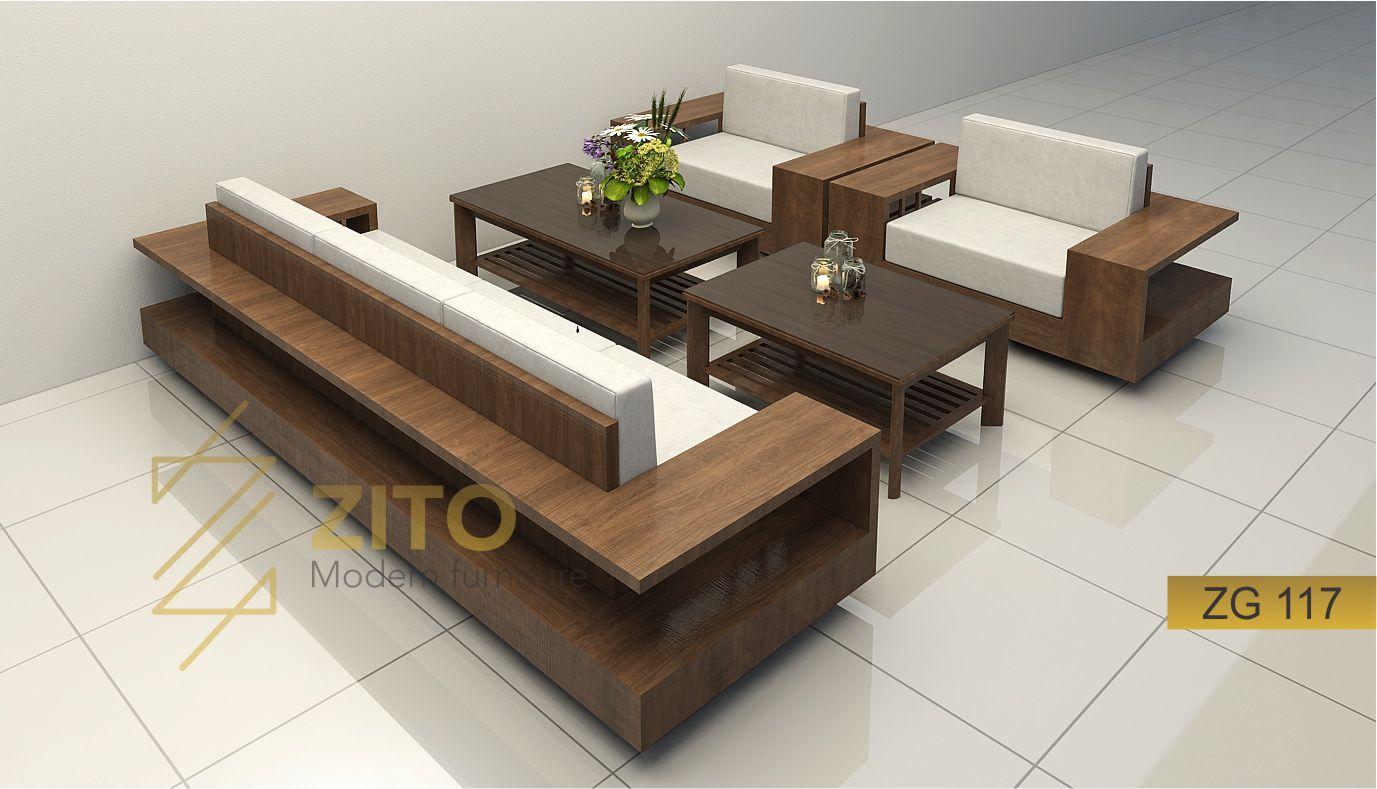 sofa gỗ chữ U hiện đại