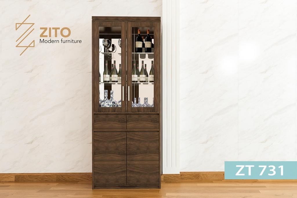 tủ rượu gỗ ZT 731 sồi đơn giản đẹp