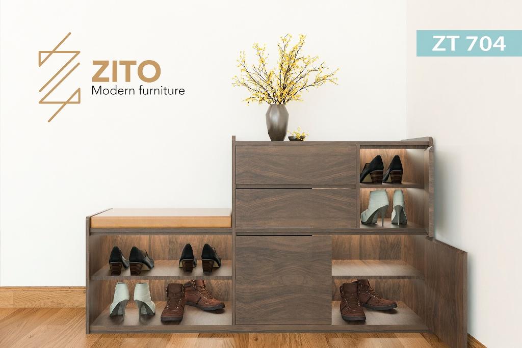 Tủ giầy gỗ sồi nhiều ngăn tiện dụng