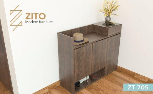 Chất liệu tủ giầy ZT 705 bằng gỗ sồi bền và chắc chắn