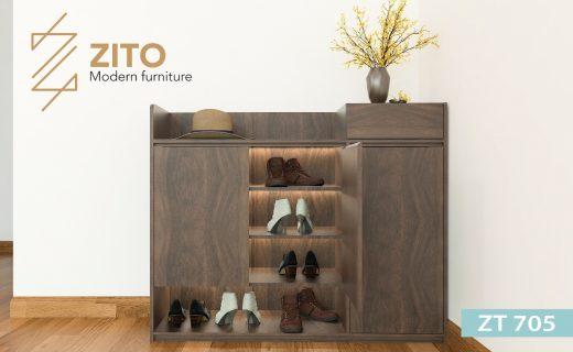 Thiết kế tủ giầy gỗ 3 buồng