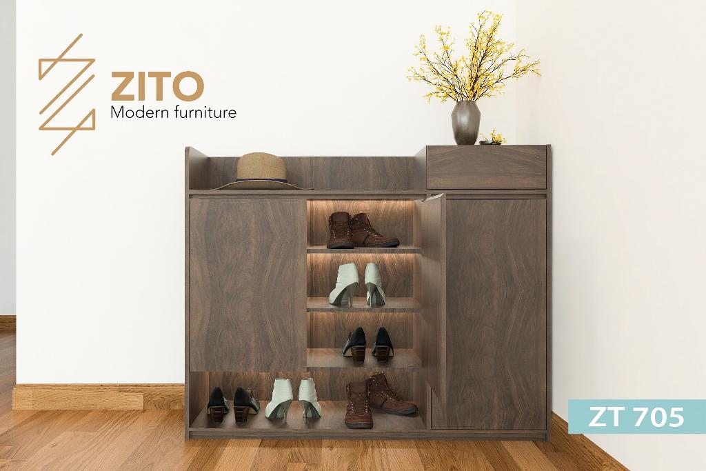 Thiết kế tủ giày gỗ 4 ngăn