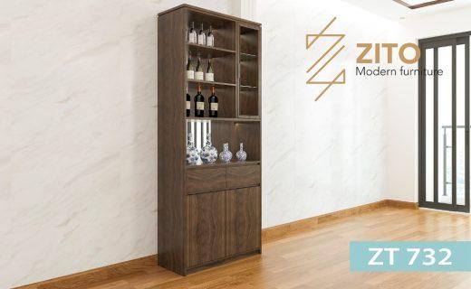 Thiết kế tủ rượu gỗ sồi gồm 3 phần chia thành nhiều ngăn