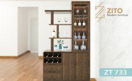Tủ rượu gỗ ZT 733 gồm nhiều ngăn đựng rượu và đồ trang trí