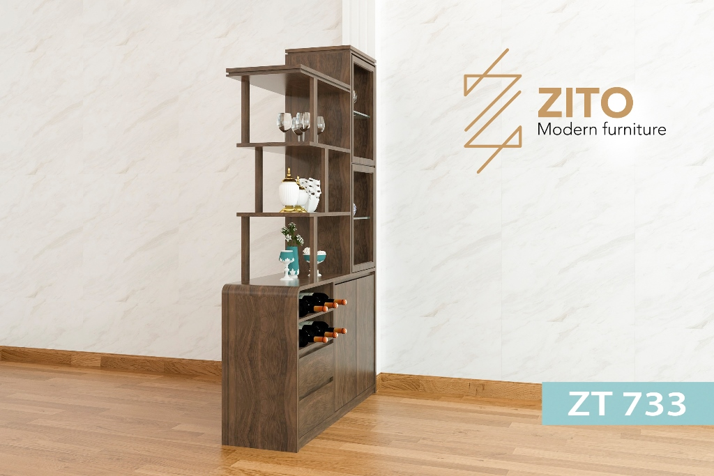 Chất liệu tủ rượu gỗ ZT 733 cho phòng khách bằng gỗ tự nhiên
